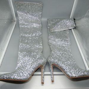 Wild Diva Lounge Silver Glitter Thigh High Boot